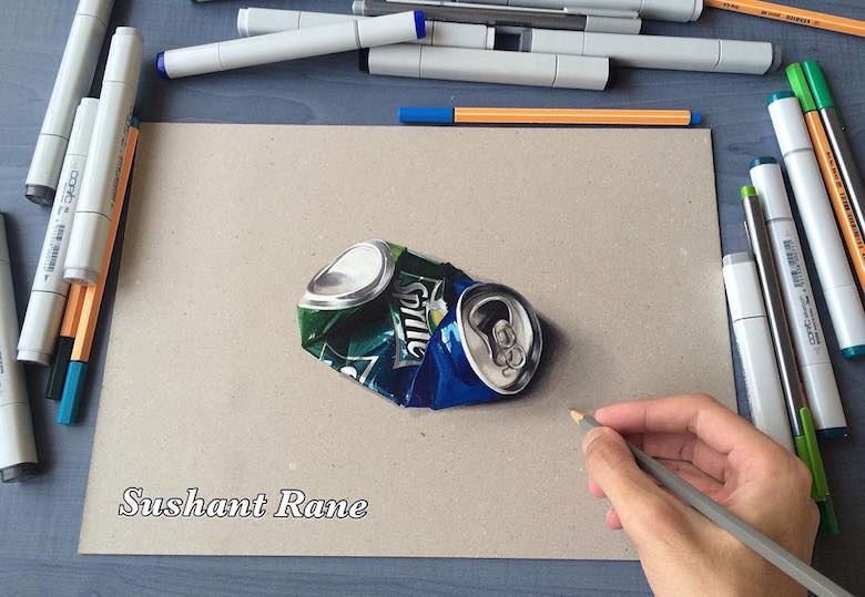 Hyperrealistic 3d drawings by Sushant Rane: Sprite can - 3
