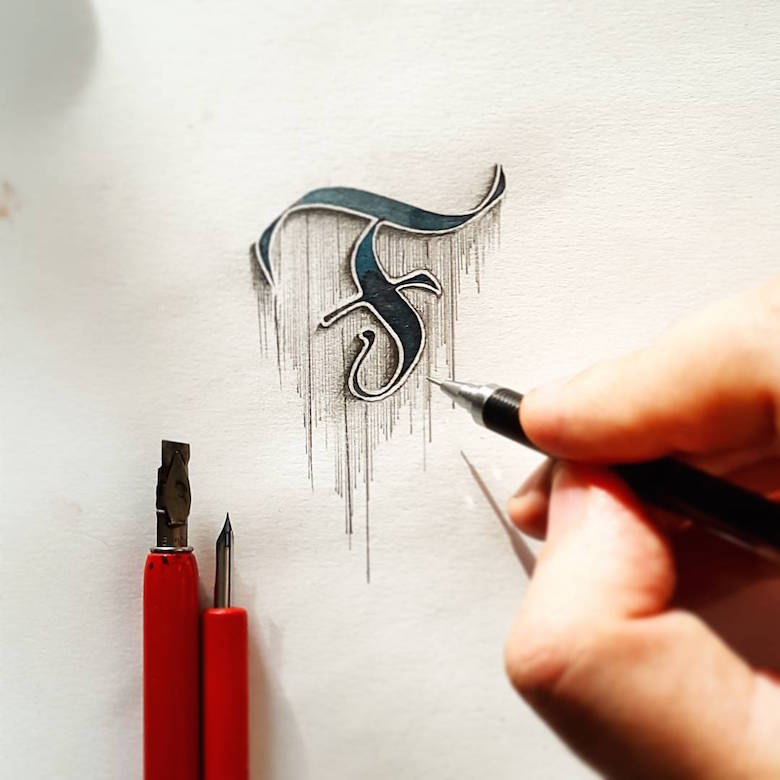Beautiful d calligraphic drawings that look like they re
