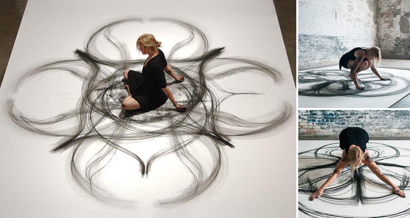 dancer draws beautiful abstract paintings using