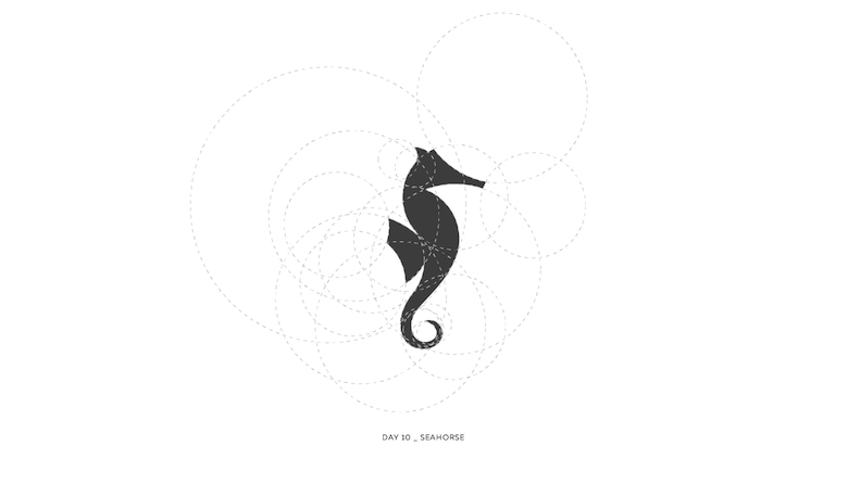Colorful animal logos based on golden ratio - 10a