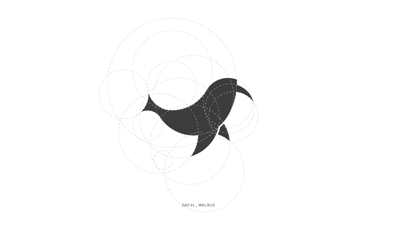 Colorful animal logos based on golden ratio - 11a