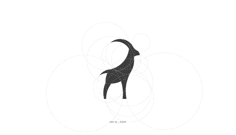 Colorful animal logos based on golden ratio - 12a