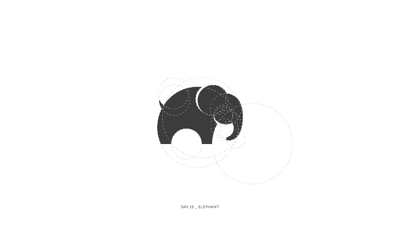 Colorful animal logos based on golden ratio - 13a