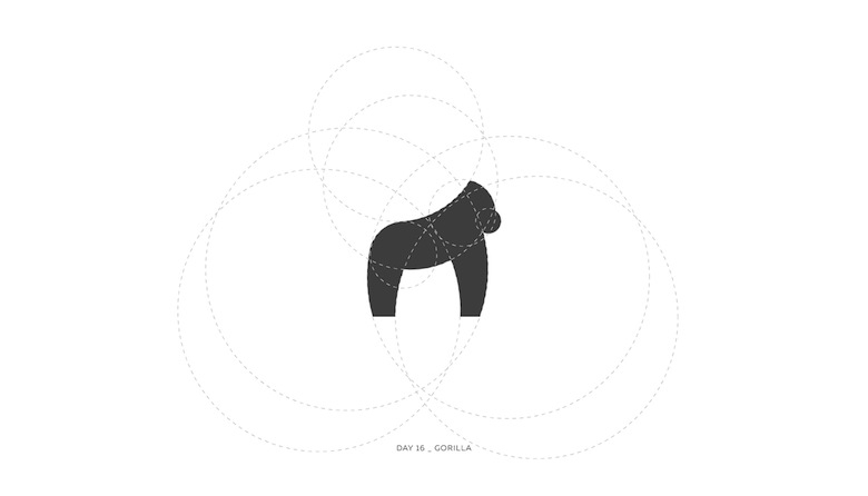 Colorful animal logos based on golden ratio - 16a