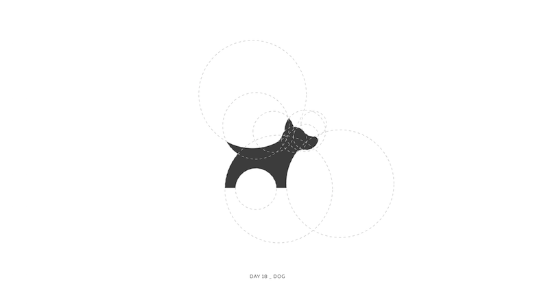Colorful animal logos based on golden ratio - 18a