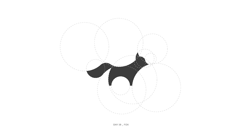 Colorful animal logos based on golden ratio - 19a