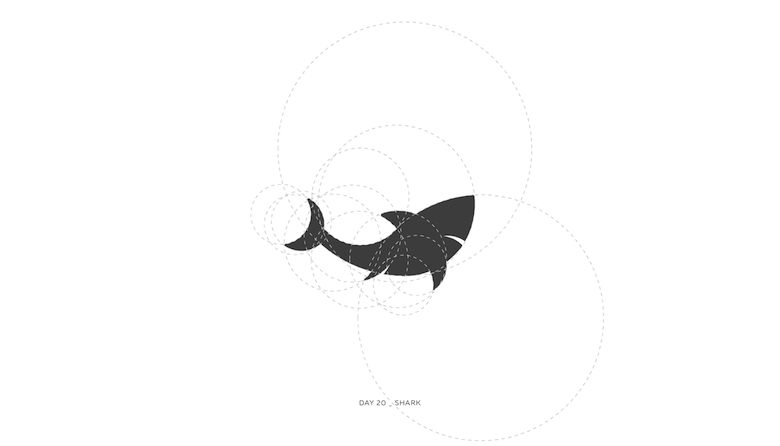Colorful animal logos based on golden ratio - 20a