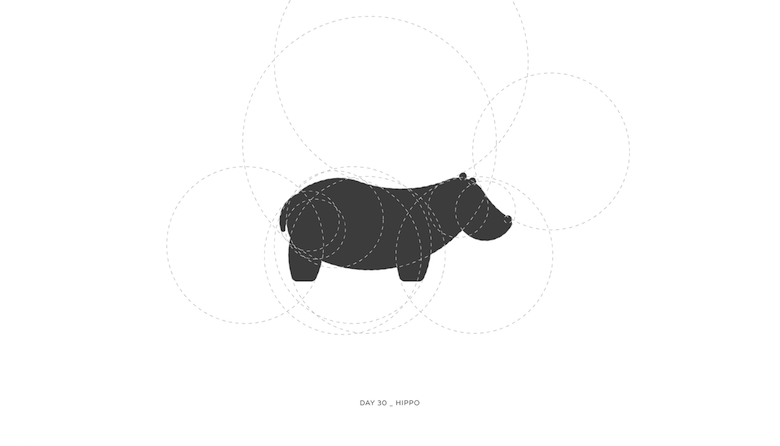 Colorful animal logos based on golden ratio - 30a