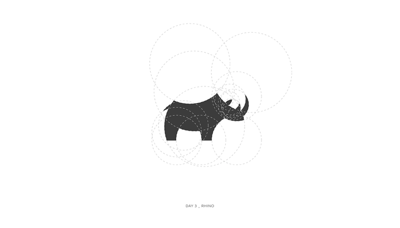 Colorful animal logos based on golden ratio - 3a
