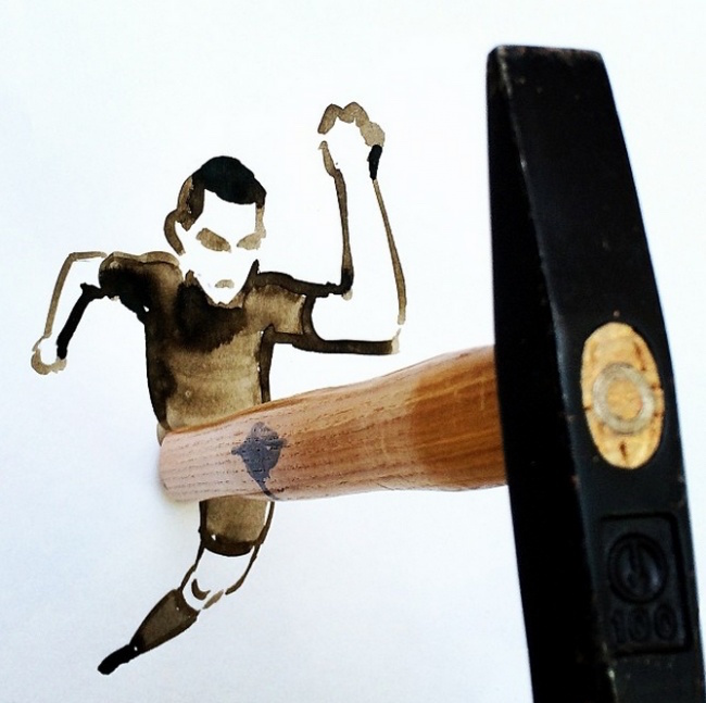 Clever, creative drawings completed using everyday objects - 6