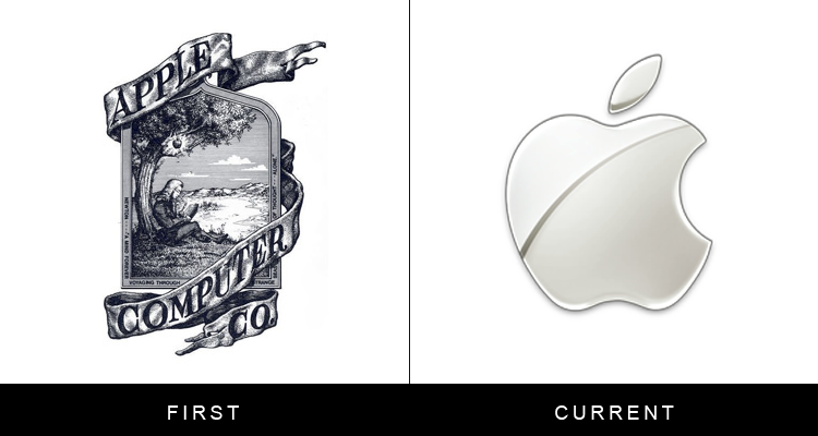 Original famous brand logos and now - Apple