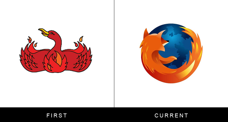 Original famous brand logos and now - Firefox
