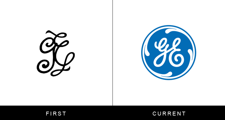 Original famous brand logos and now - GE