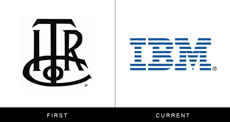 Original famous brand logos and now - IBM