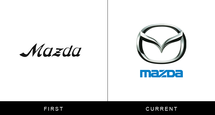 Original famous brand logos and now - Mazda