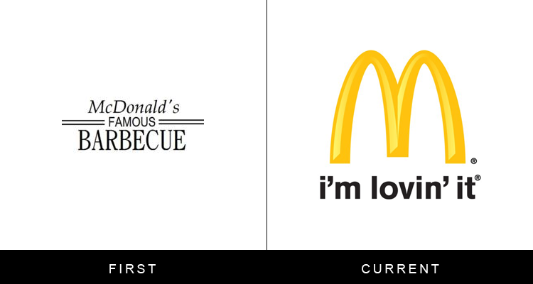 Original famous brand logos and now - McDonalds