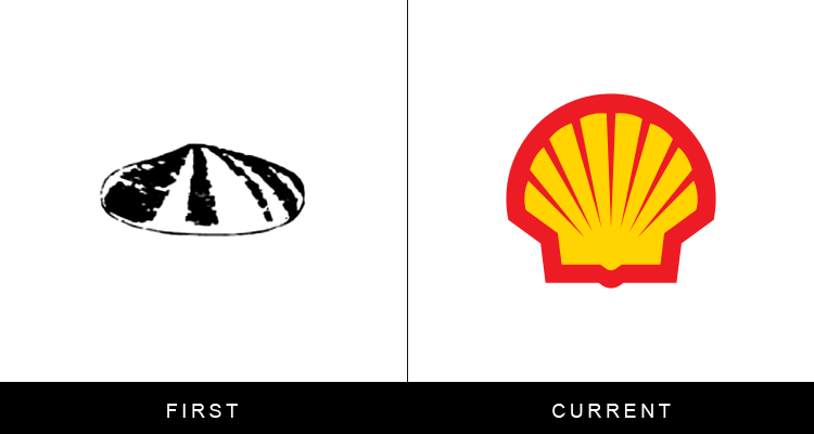 Original famous brand logos and now - Shell