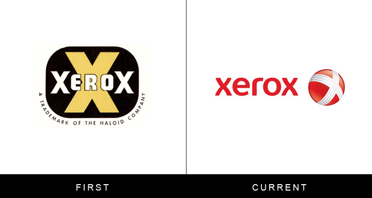 Original famous brand logos and now - Xerox