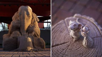 How Cool Is This Life-Size Sand Sculpture Of An Elephant Playing Chess With A Mouse?