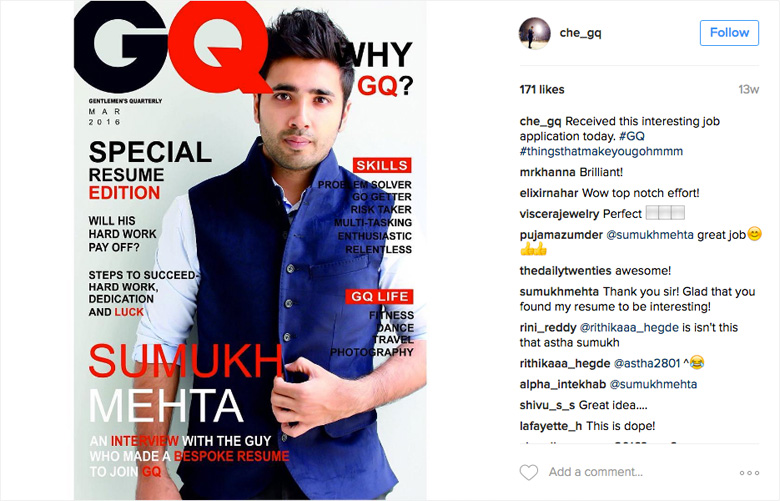 Che Kurrien, Editor Of GQ India, Shared Mehtau0027s Resume On His Instagram  Account  Cover Resume