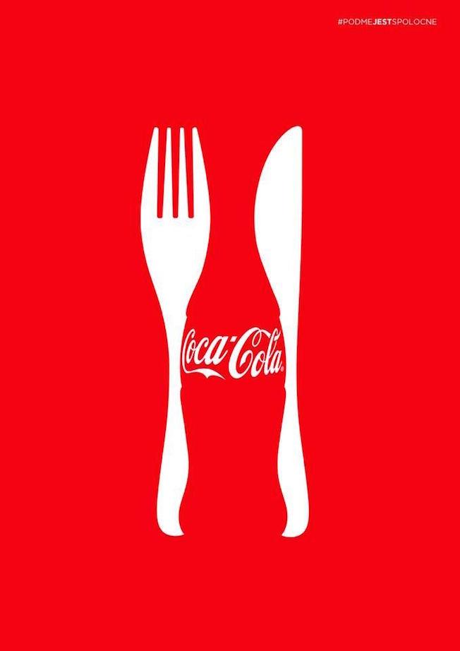 Negative space art / design / illustrations / ads - Coke: Let's Eat Together
