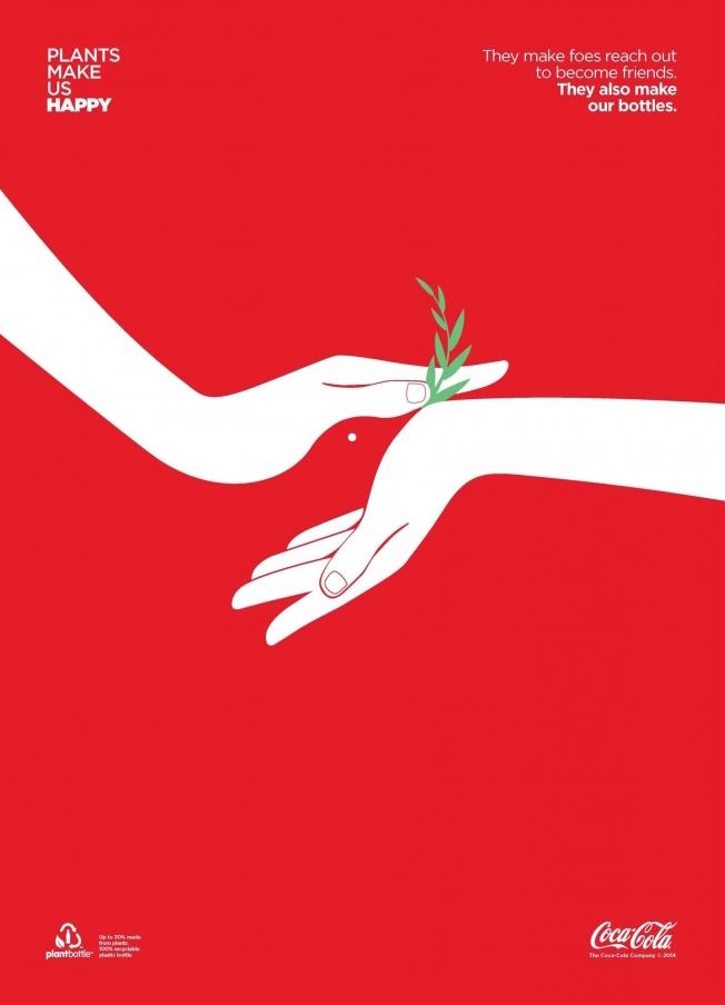 Negative space art / design / illustrations / ads - Coke: Plants Make Us Happy (2)