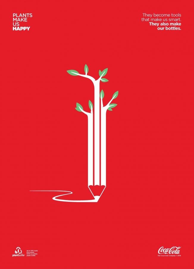 Negative space art / design / illustrations / ads - Coke: Plants Make Us Happy (3)