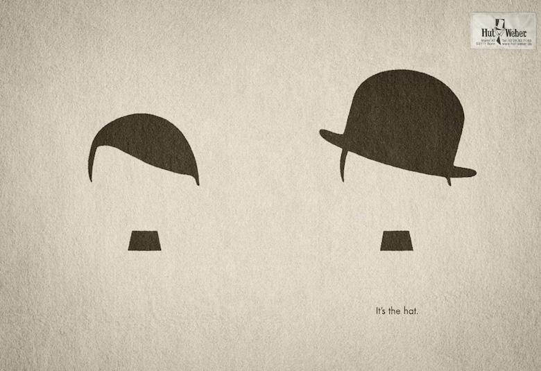 Negative space art / design / illustrations / ads - Hut Weber: It's the hat