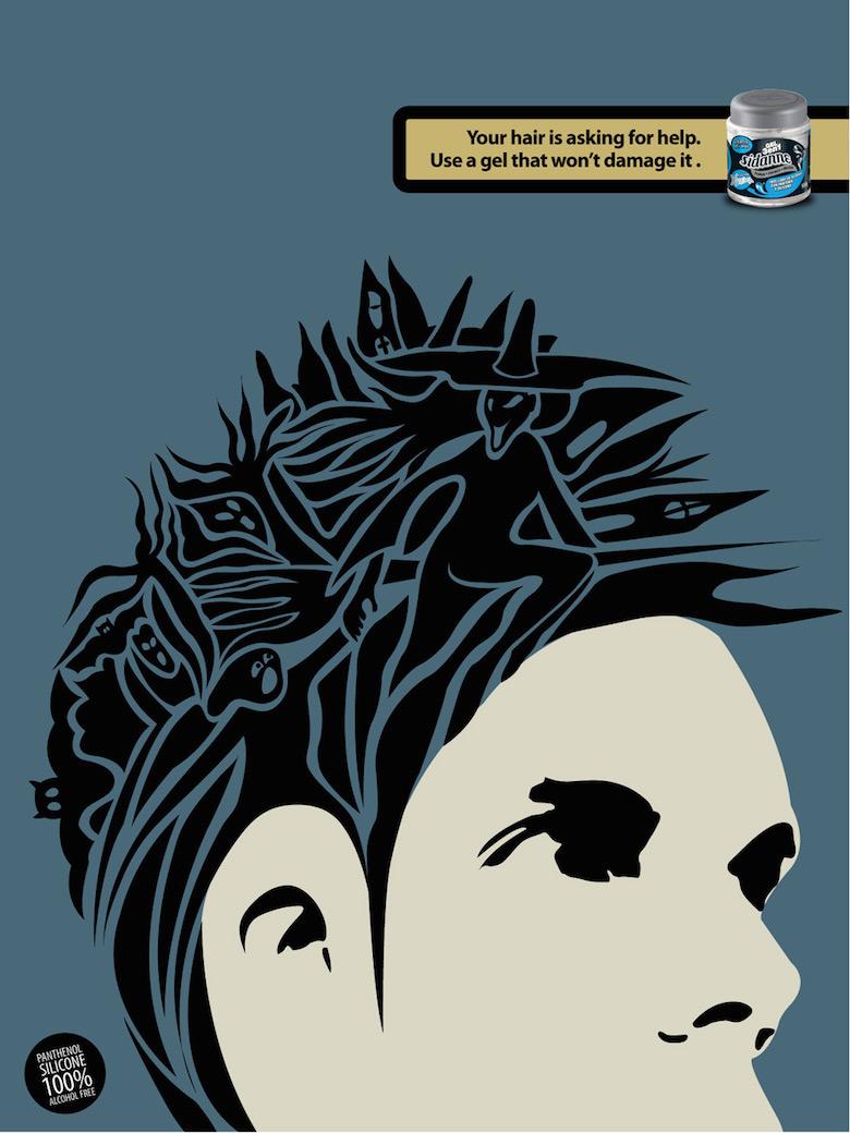 Negative space art / design / illustrations / ads - Sidanne Hair Gel (2)