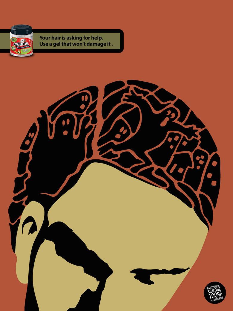 Negative space art / design / illustrations / ads - Sidanne Hair Gel (3)
