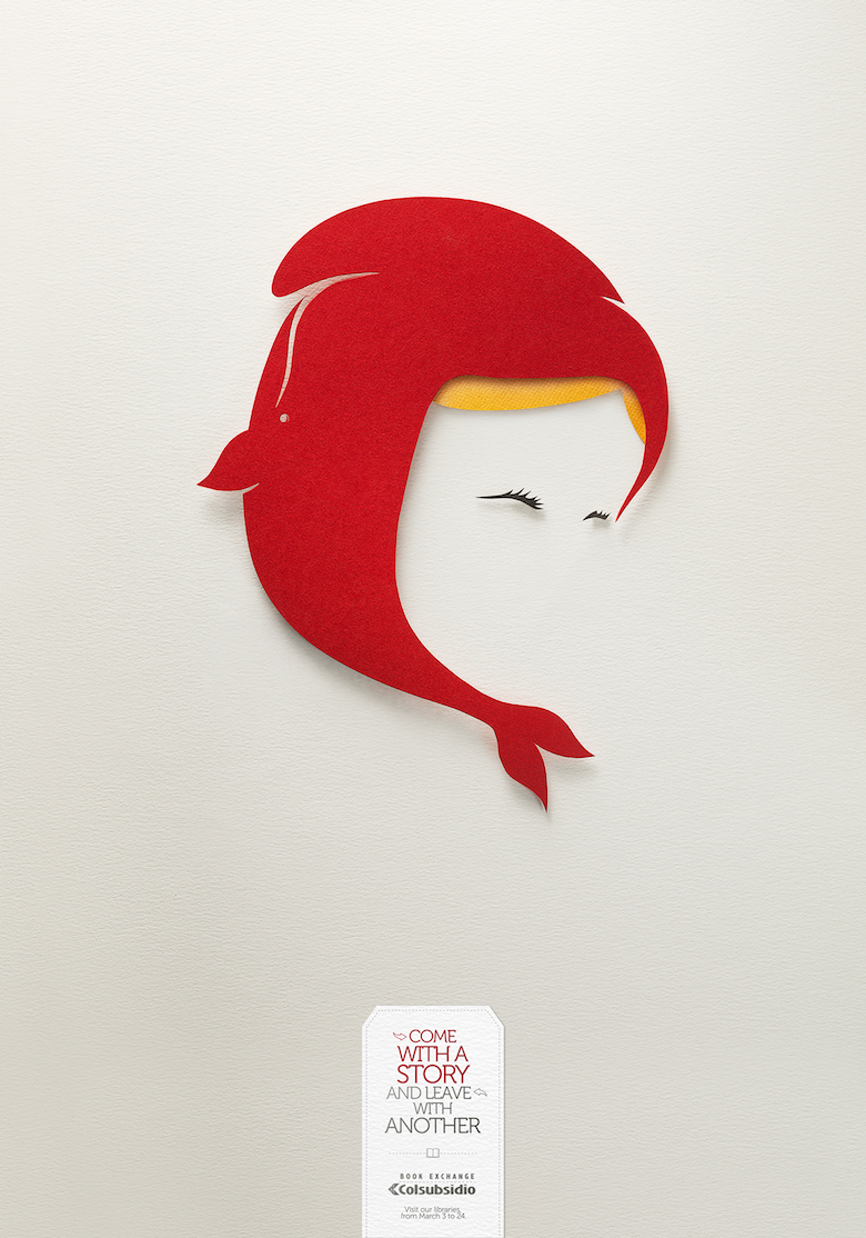 Negative space art / design / illustrations / ads - Colsubsidio Book Exchange (3)