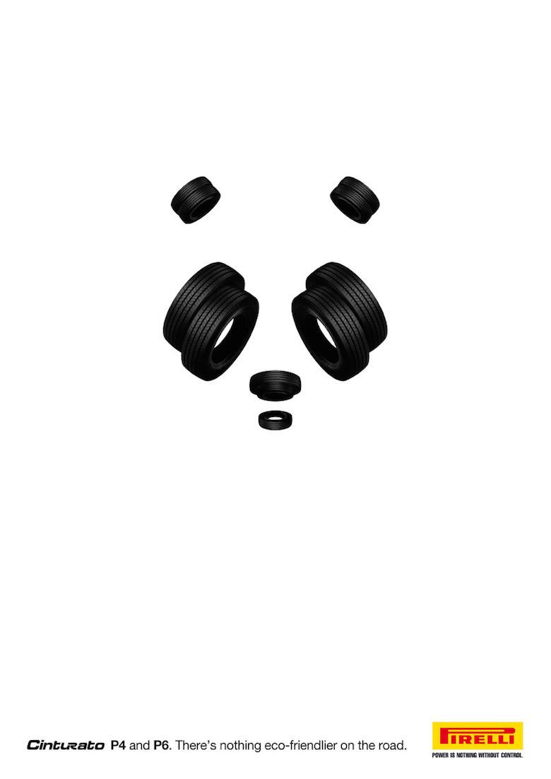 Negative space art / design / illustrations / ads - Pirelli: Panda