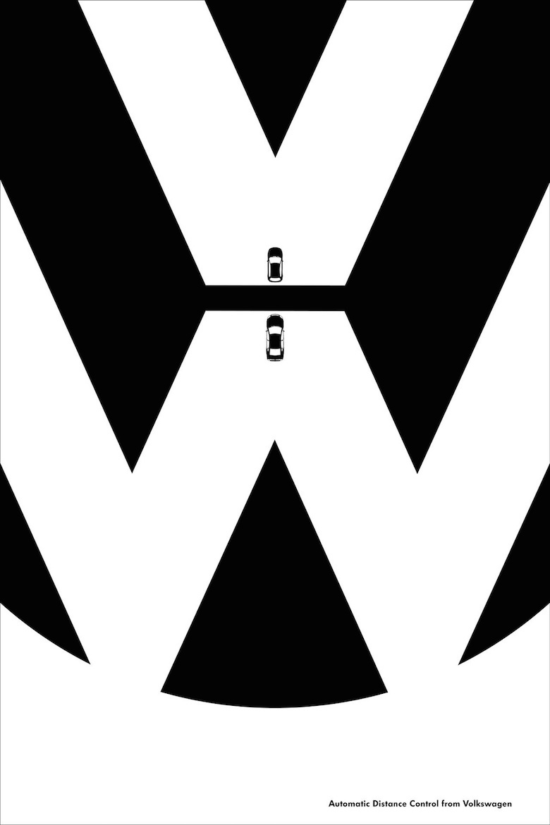 Negative space art / design / illustrations / ads - Volkswagen: Features (1)