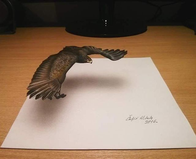 Realistic drawings that look like 3D objects / Optical illusion art - 10