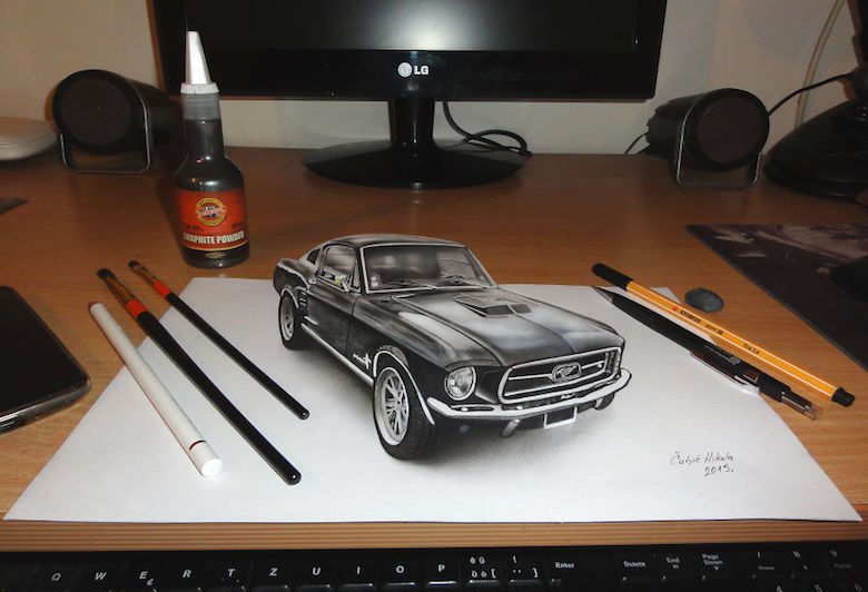 Realistic drawings that look like 3D objects / Optical illusion art - 6