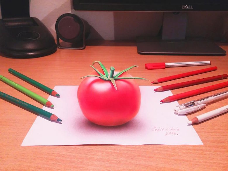 Realistic drawings that look like 3D objects / Optical illusion art - 9