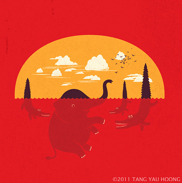 Negative space art illustrations by Tang Yau Hoong - 25