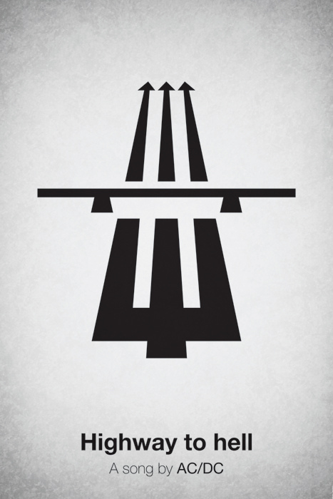 Pictogram music posters of song names - Highway To Hell - AC/DC