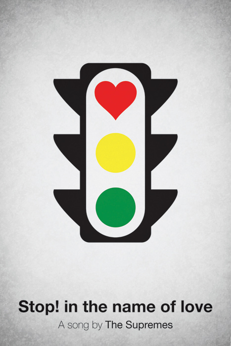Pictogram music posters of song names - Stop! In The Name Of Love - The Supremes
