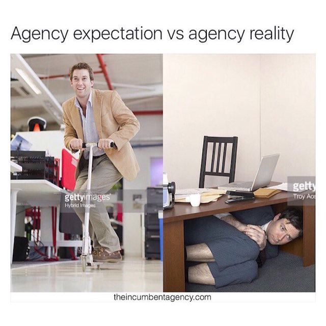 Ad agency life shown with funny stock photos - 4