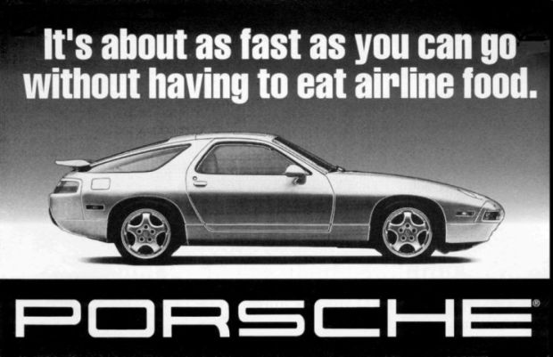 It's about as fast as you can go without having airline food. - Porsche