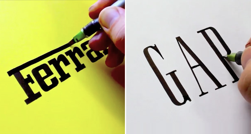 watch this calligrapher draw famous logos with remarkable