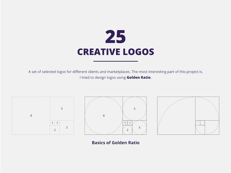 25 creative logos based on the golden ratio