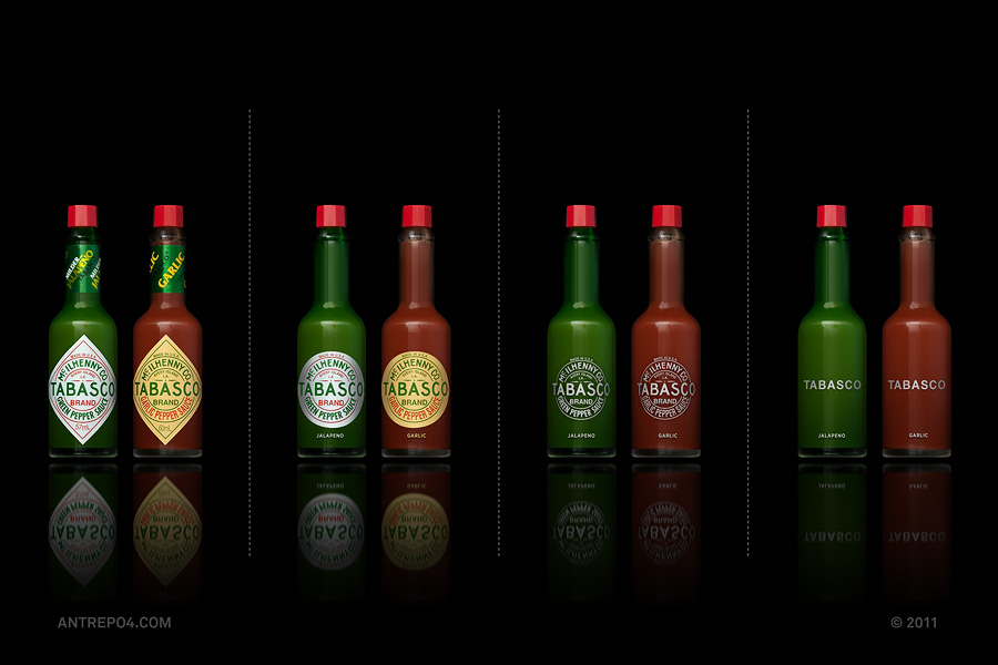 Minimalist product packaging of famous brands - Tabasco
