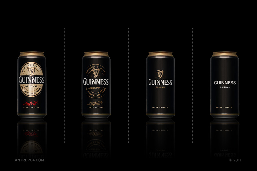 Minimalist product packaging of famous brands - Guinness