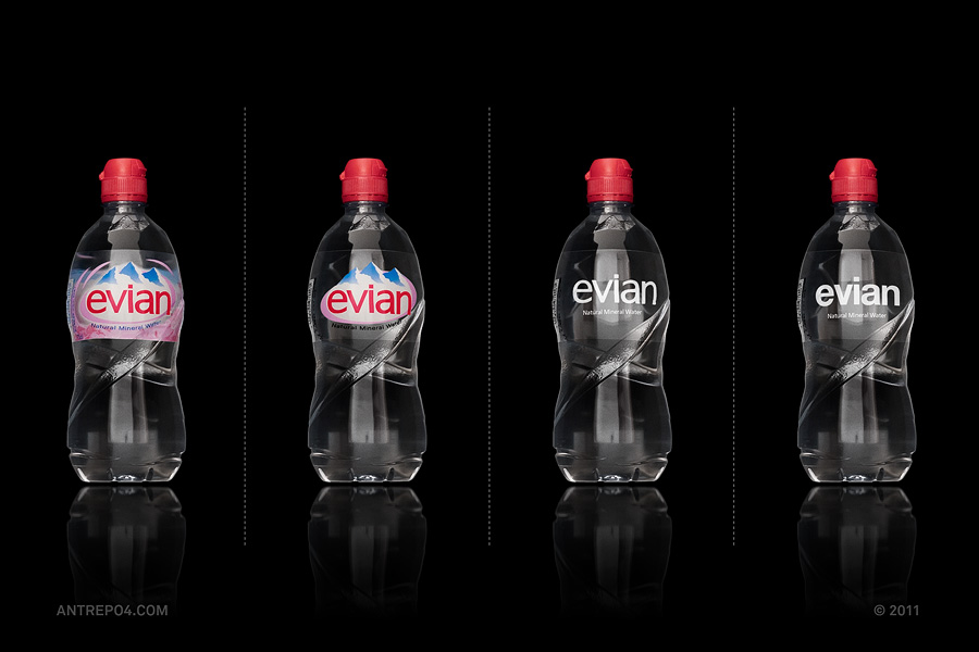 Minimalist product packaging of famous brands - Evian