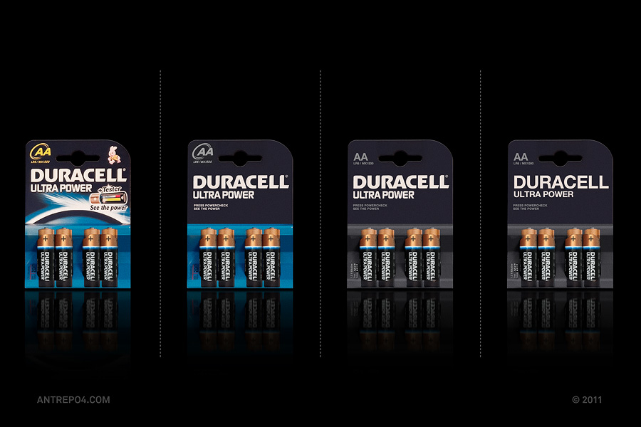 Minimalist product packaging of famous brands - Duracell