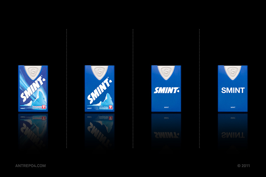 Minimalist product packaging of famous brands - Smint