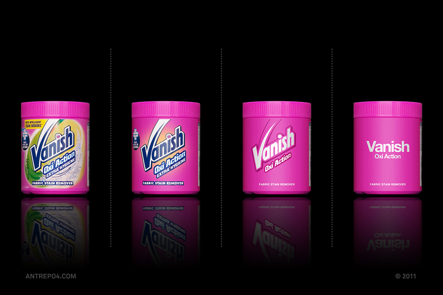 Minimalist product packaging of famous brands - Vanish