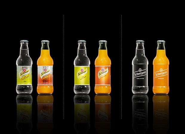 Minimalist product packaging of famous brands - Schweppes